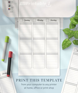 Undated Weekly Schedule Planner Template 2 Pages - Digital Download