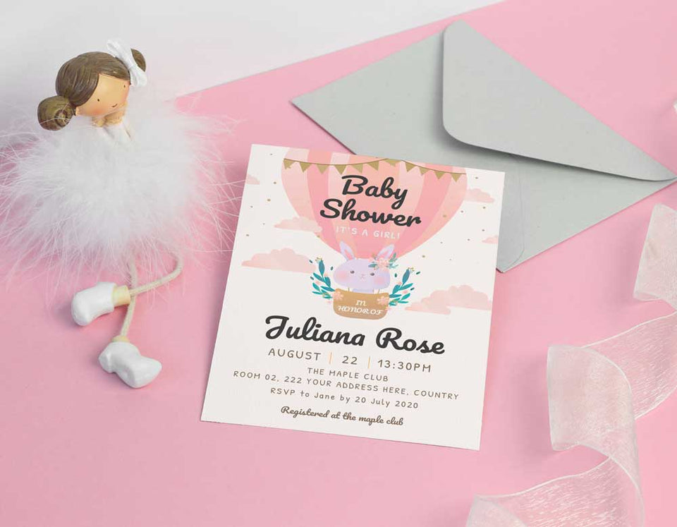 Cloudy Girl Baby Shower Invitation Template - Digital Download