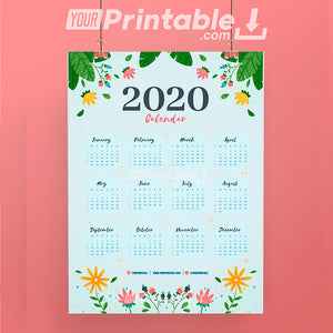 FREE Printable Colorful Calendar 2020 - Digital Instant Download
