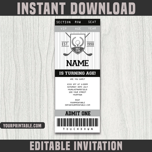 Golf Ticket Invitation Template - Birthday Party