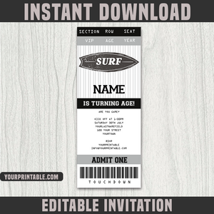 Surf Ticket Invitation Template - Birthday Party