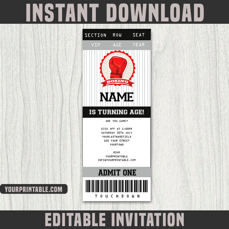 Boxing Ticket Invitation Template - Birthday Party