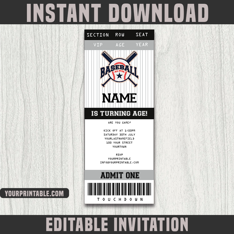 Baseball Ticket Invitation Template - Birthday Party