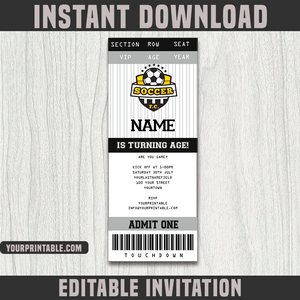Soccer Ticket Invitation Template - Birthday Party