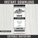 SnowBoarding Ticket Invitation Template - Birthday Party