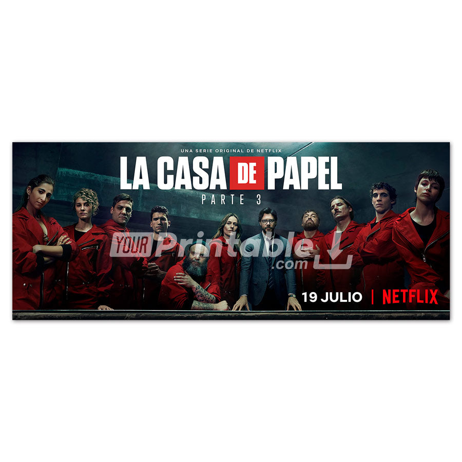 Money Heist Part 3 Horizontal Poster Wall Art - Instant Download