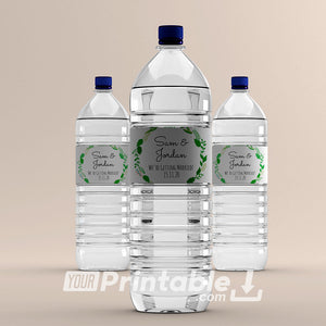 Printable Botanical Wedding Water Bottle Label Template - Digital Download