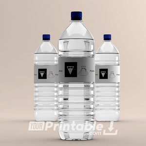 Wedding Bride & Groom Water Bottle Labels - Digital Download