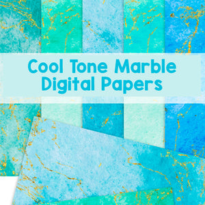 Cool Tone Marble Digital Papers - Digital Download