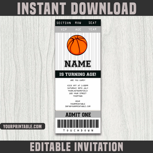 Basketball Ticket Invitation Template - Birthday Party