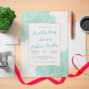 Printable Adult Gentle Floral Birthday Invitation Card - Digital Download