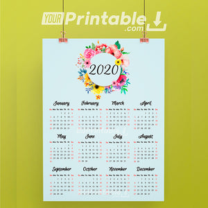 Floral 2020 Printable Yearly Calendar- Digital Instant Download