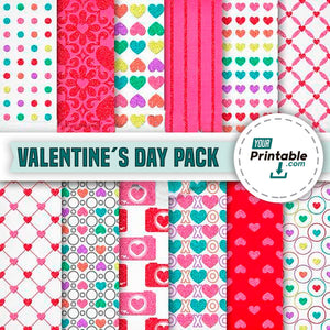 Valentine´s Day Digital Paper Pack Template for Download