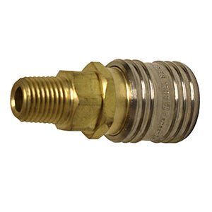 "Sleeve Lock Air Socket, Industrial ""M"" Style Plug, 1/4"" NPT Male, 1/4"" Coupler"