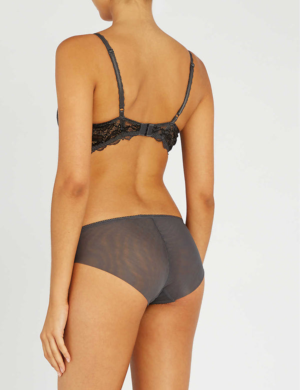 Wacoal - Lace Perfection Plunge Push Up Bra - Charcoal