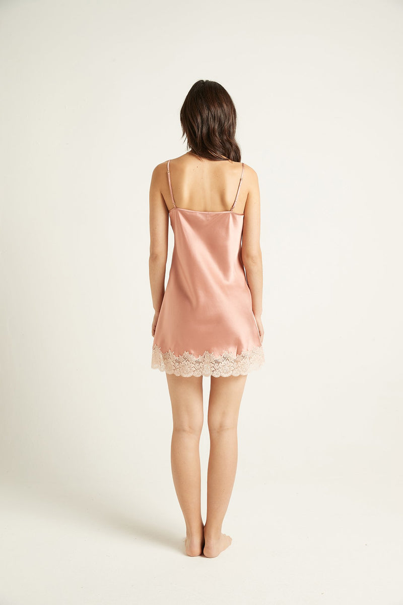 Ginia - Silk chemise with Lace Trim