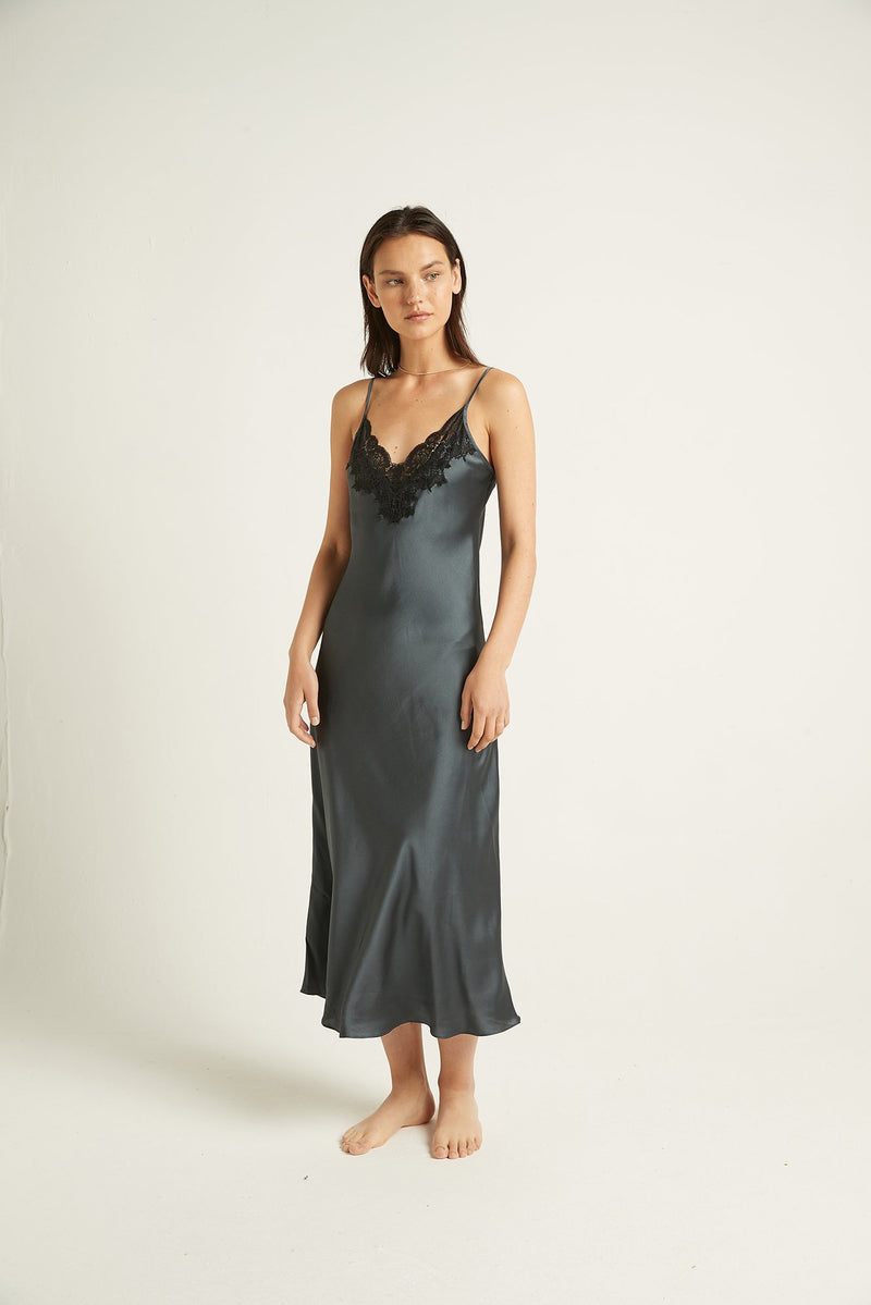 GINIA - Long Silk Nite Dress with Lace Trim