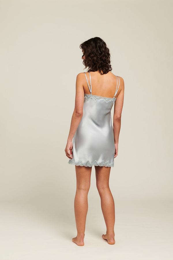 Ginia - Pearl Blue Silk Chemise with Pintucks
