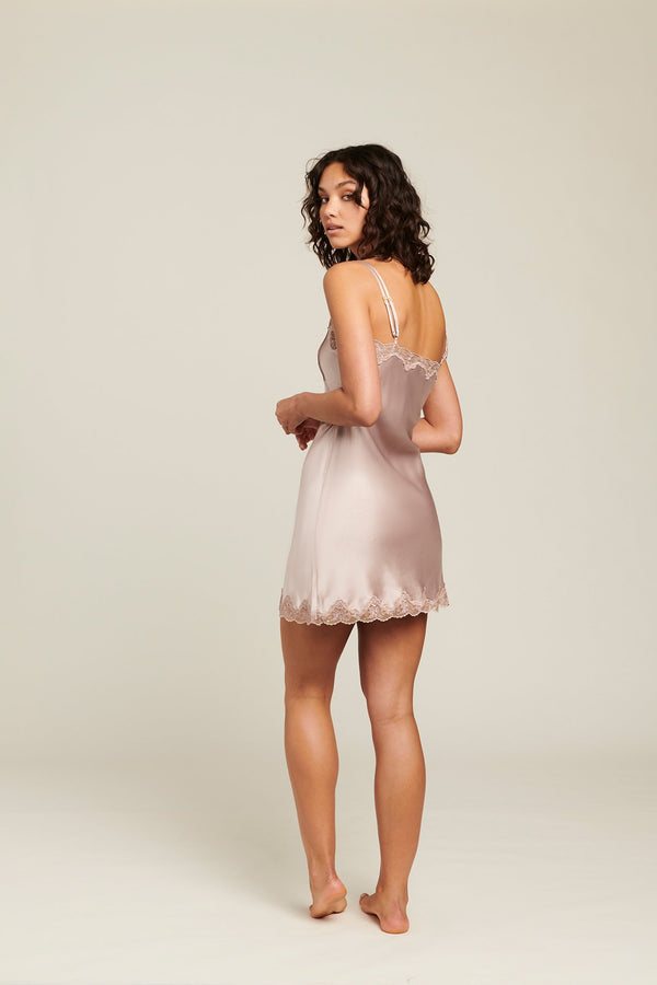 Ginia - Silk Chemise with Pintucks  Shadow Grey