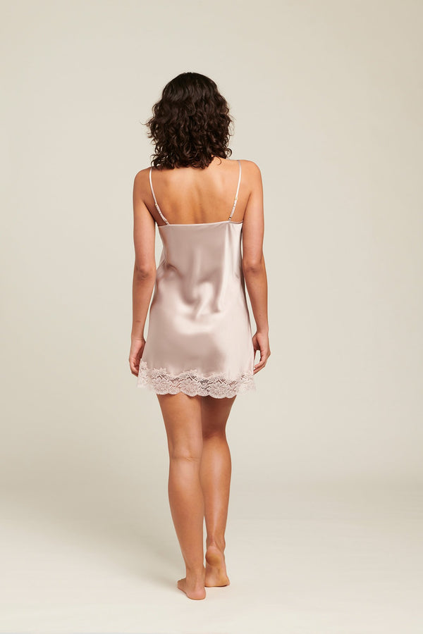 Ginia - Shadow Grey Silk Chemise with Lace