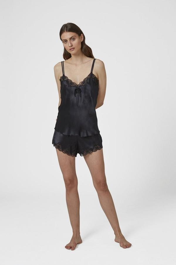 GINIA - Silk Short with Lace Detail