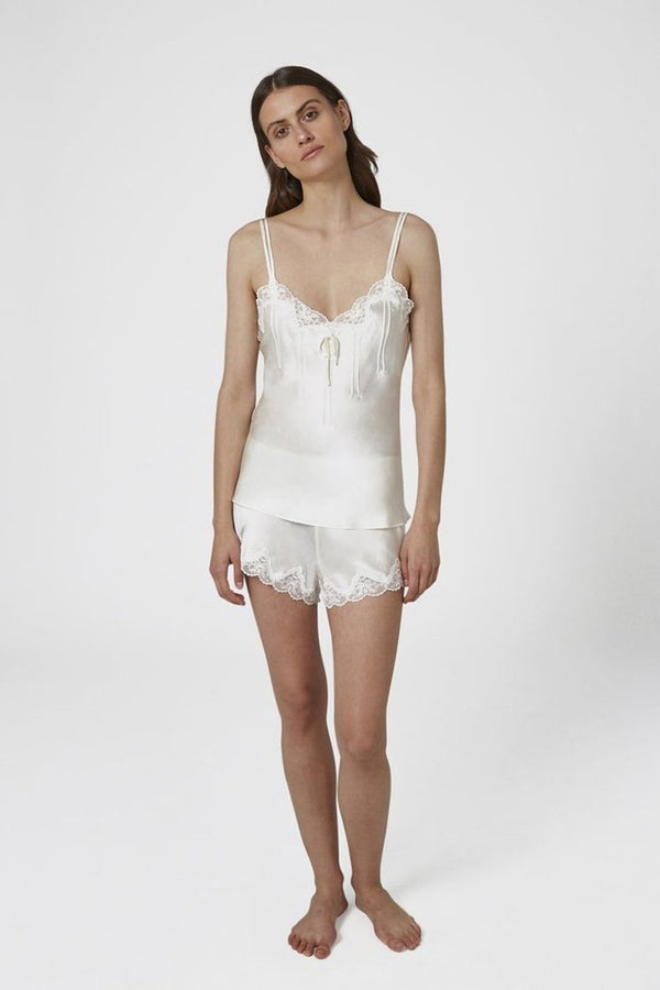 GINIA - Pintuck Silk Camisole with Lace