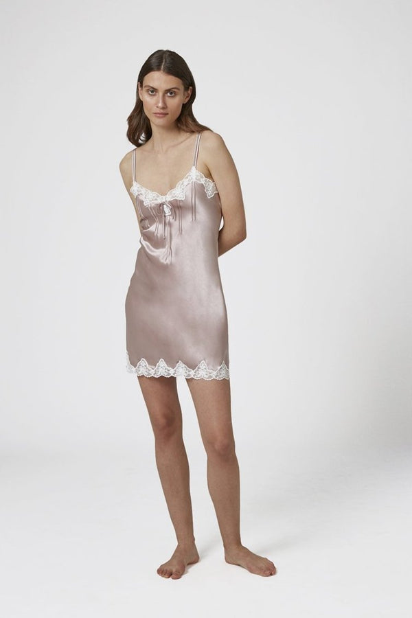 GINIA - Pintuck Silk Chemise with Lace