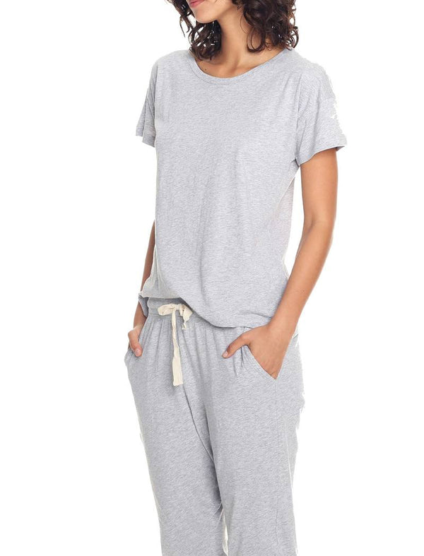 Organic Knit Pant in Grey Marl