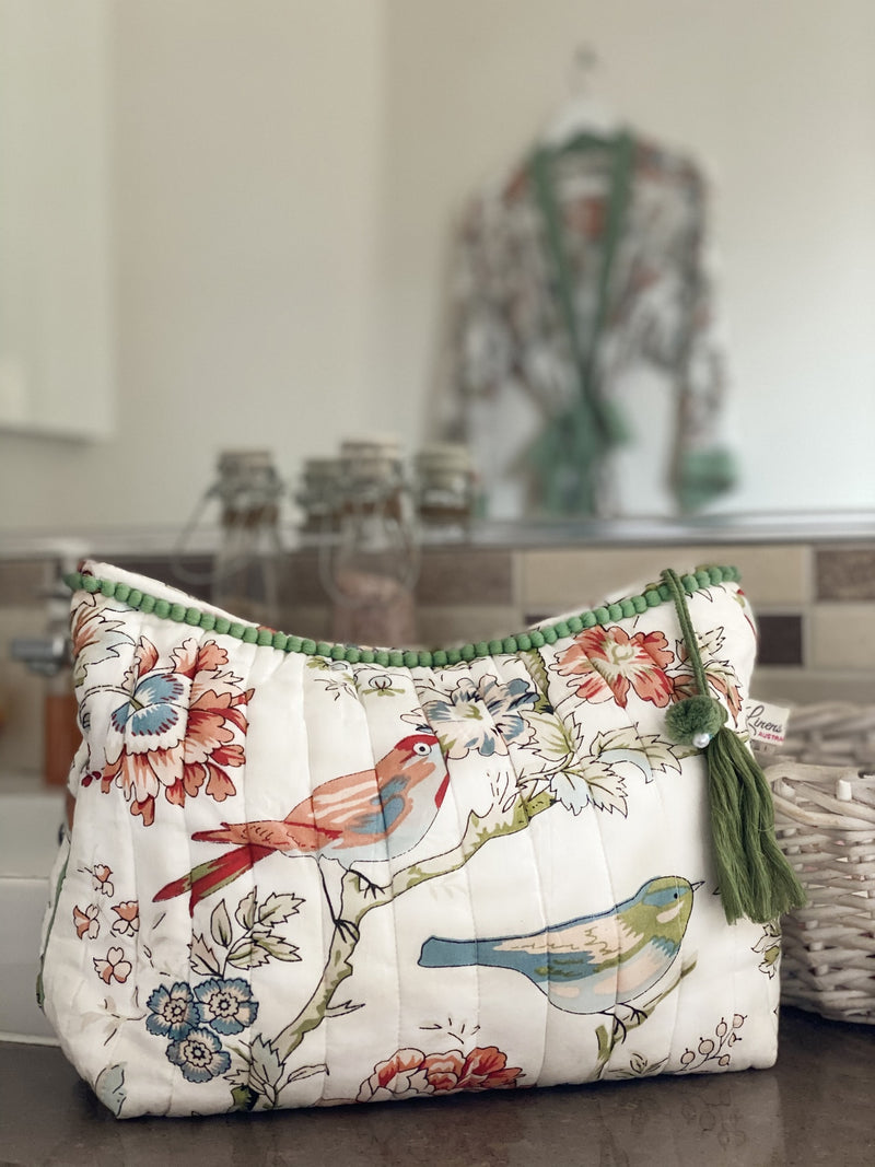 Vintage Birds Cosmetic Bag