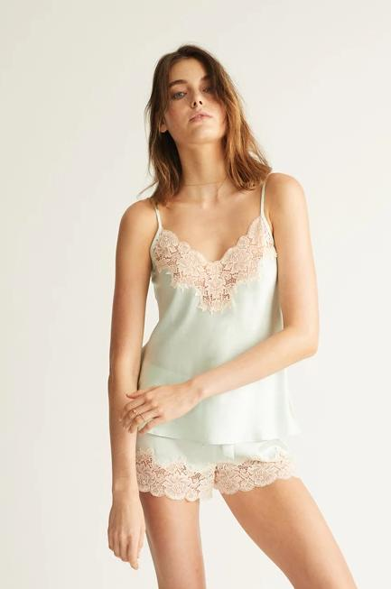 GINIA - Silk Camisole with Lace Trim