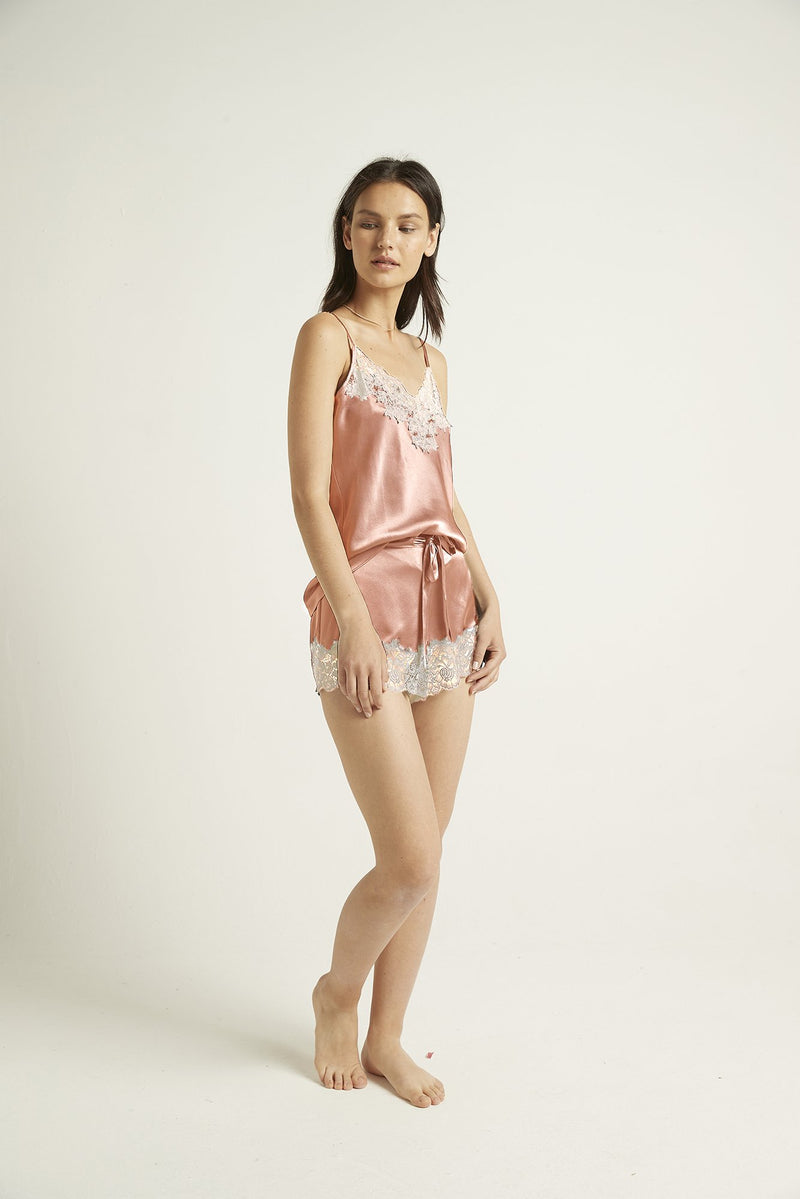 GINIA - Silk Shorts with Lace Trim
