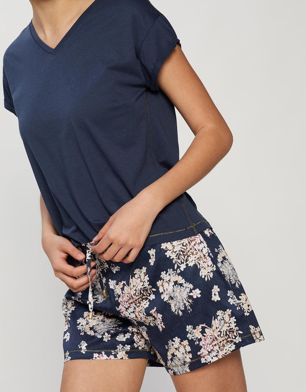 Calista -  Navy Floral Short Set