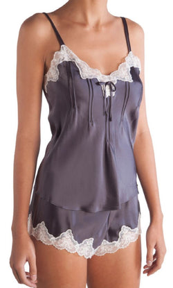 GINIA - Pintuck Silk Cami with Lace