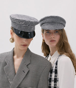 Houndstooth Wool Baker Boy Cap