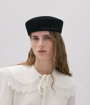 Black Felt Pillbox hat with RB embroidery