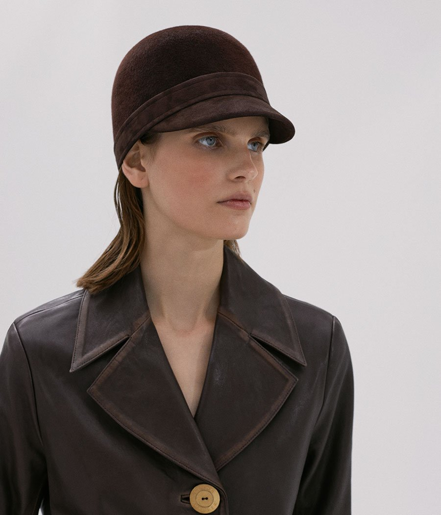 Brown Cloche Hat with a Leather Peack (4669817225264)