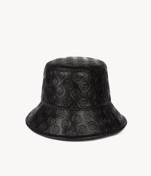 Monogram-embellished Black Leather Bucket Hat (4669816832048)