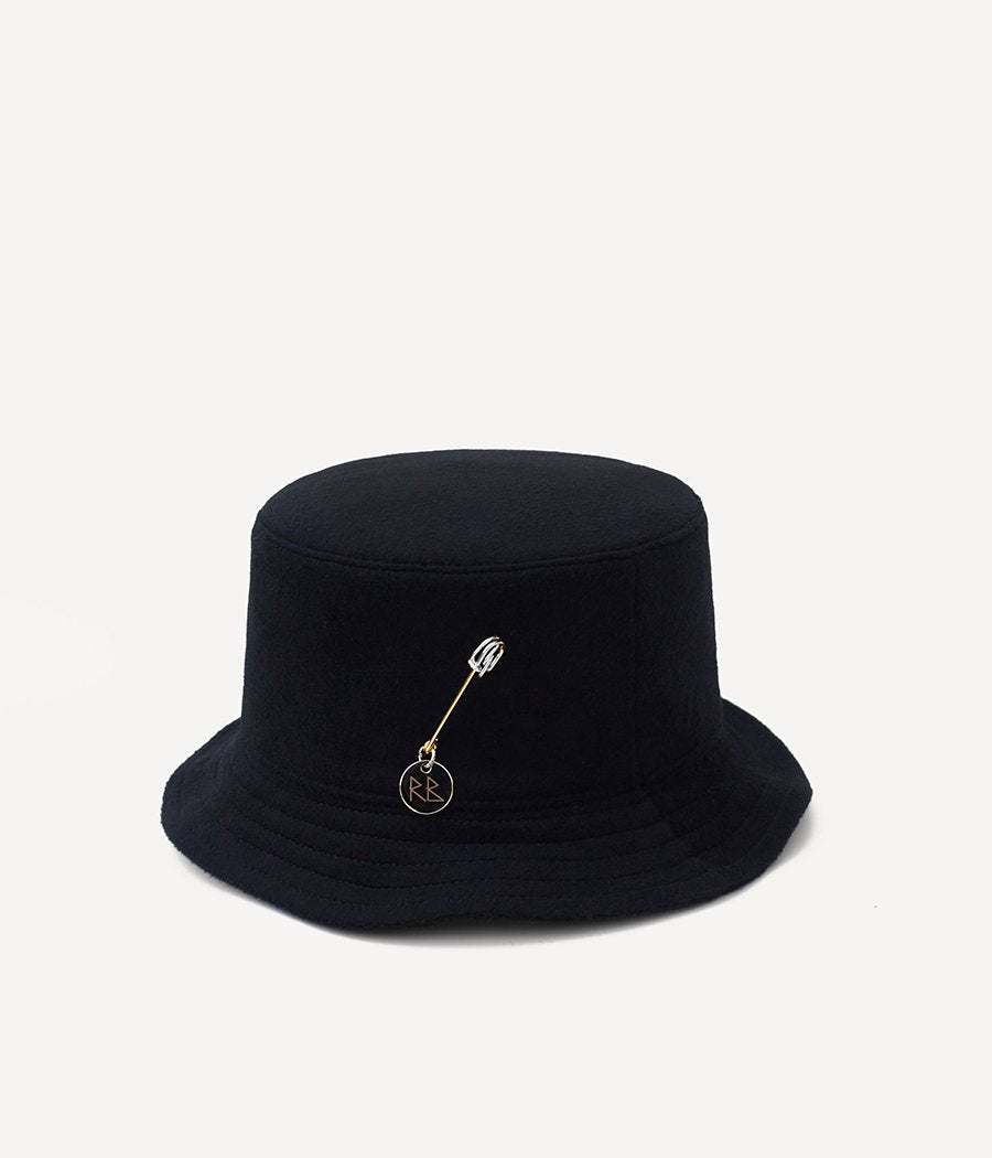 Black pierced wool bucket hat