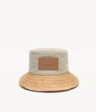 Straw-brimmed cotton bucket hat