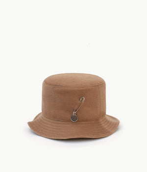 Beige pierced wool bucket hat
