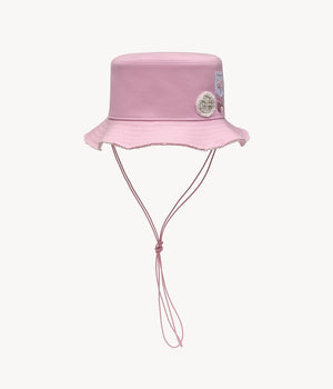 Crystal embellished cotton bucket hat