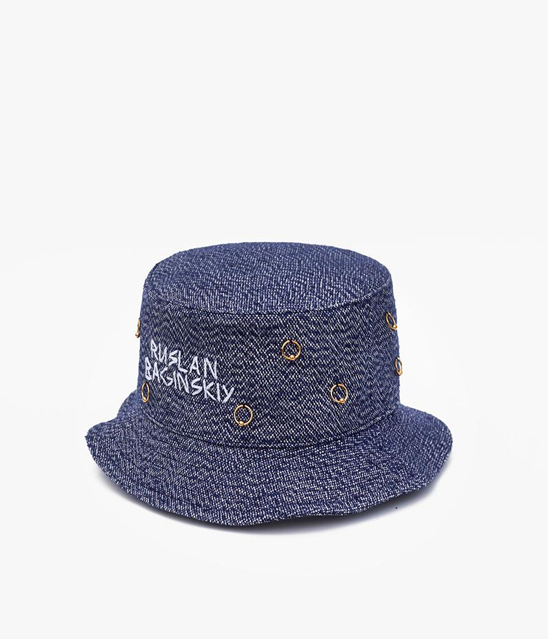 Blue pierced denim bucket hat