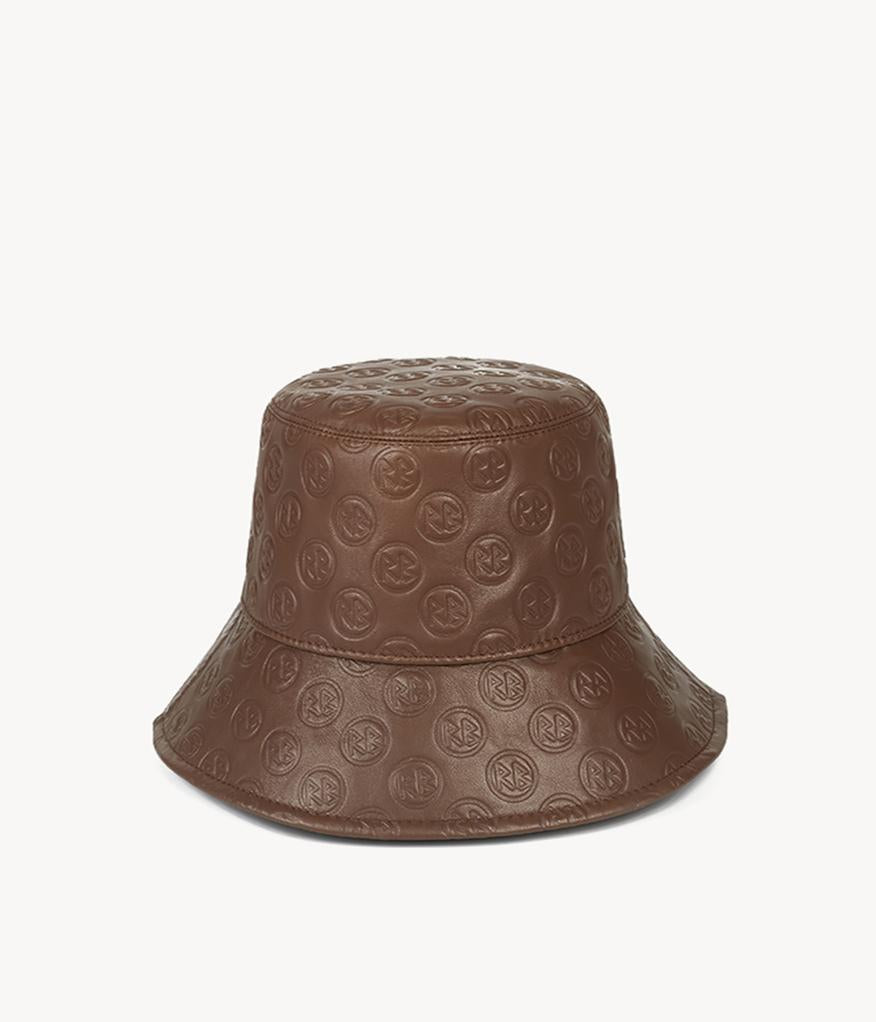 Monogram-embellished Brown Leather Bucket Hat