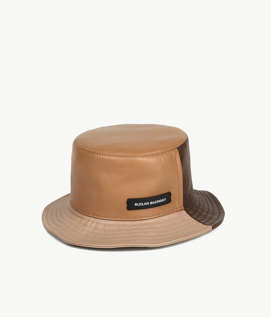 Tri-colored Leather Bucket Hat