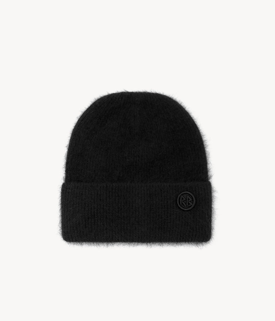 Black Logo Patch Beanie Hat