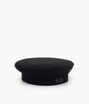 """Take me to the moon"" black wool beret"