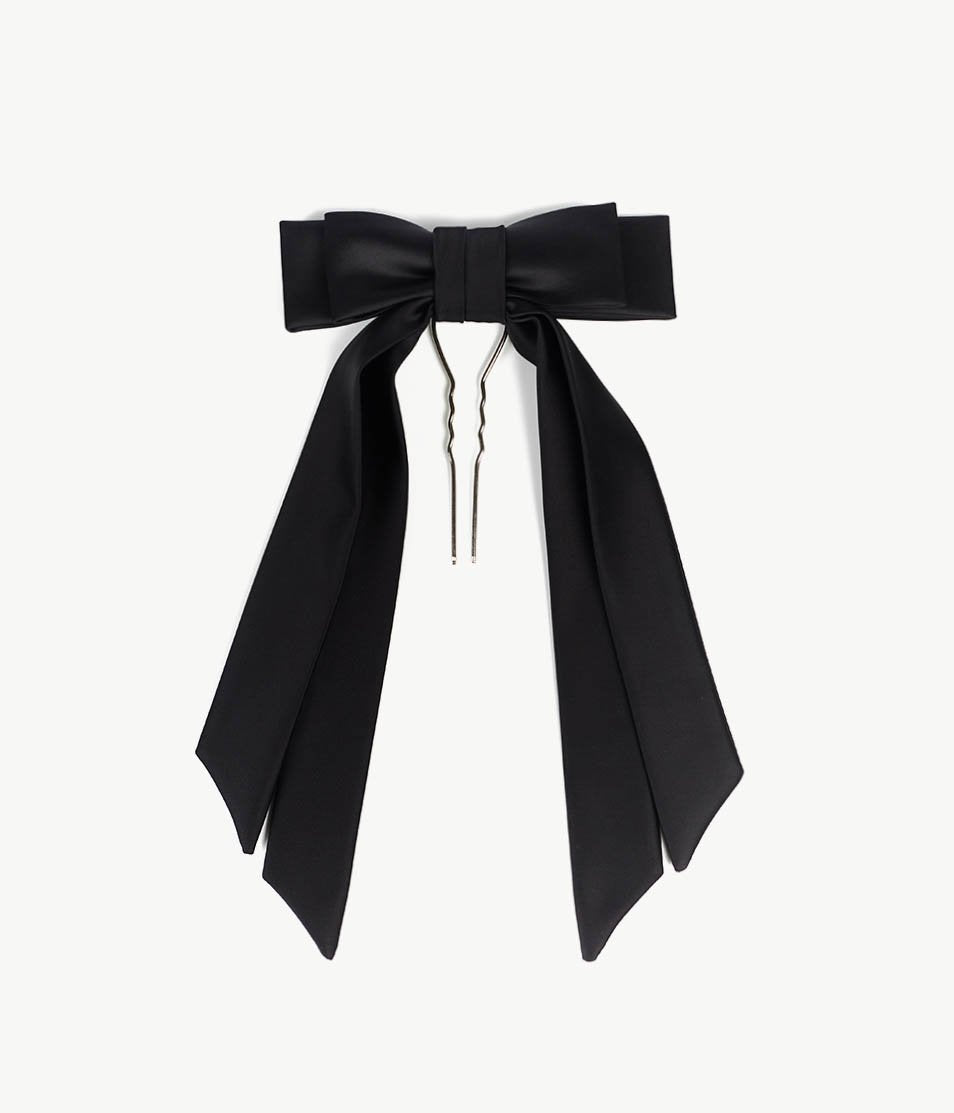 Black Satin Bow Barrette