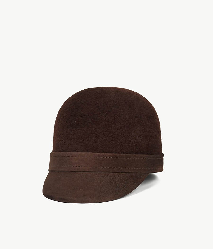 Brown Cloche Hat with a Leather Peack