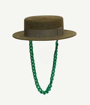 Chain Embellished Green Felt Canotier Hat (4660090961968)