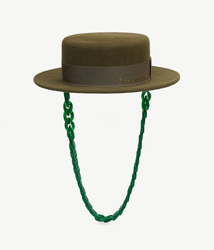Chain Embellished Green Felt Canotier Hat
